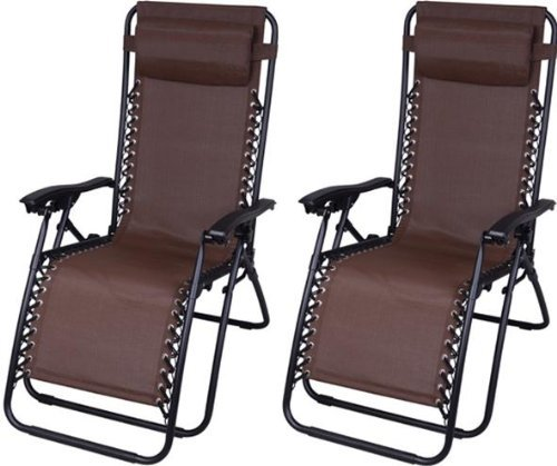 Outsunny Zero Gravity Recliner Lounge Patio Pool Chair - 2 Pack - Brown