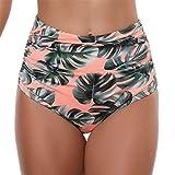 Women High Waist Bikini Bottom Briefs | Hopwin Ladies Vintage Bodyshort Tankini Briefs Swimming Shorts (S, Pink)