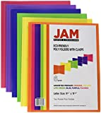 JAM Paper® Plastic 2-Pocket Folders - Eco Friendly Folder with Metal Clasps - Assorted Colors - 6 Folders per Pack
