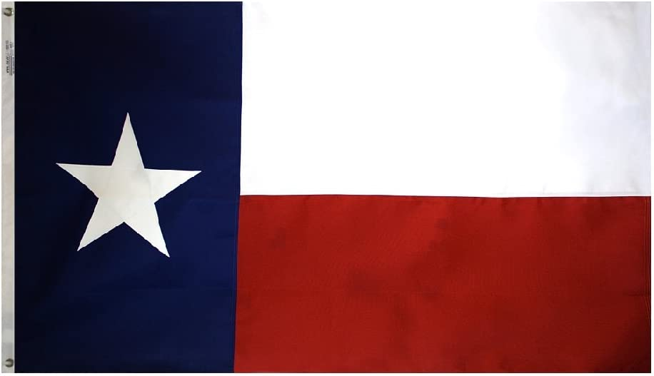 Annin Flagmakers Model 145306 Texas State Flag- 4x6 ft. Tough-Tex, the Strongest, Longest Lasting Flag, 100% Made in USA to Official State Design Specifications. Sewn Stripe and sewn Appliqued Star with Brass Grommets.