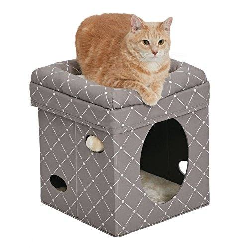 MidWest Homes for Pets Cat Cube | Cat House/Cat Condo in Fashionable Mushroom Diamond Print | 15.5L x 15.5W x 16.5H Inches
