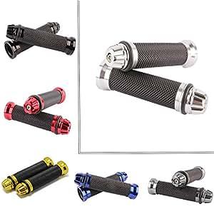 """22mm Puños Acoples de Manillar para Moto Bici Goma Manillar para Motocicleta Bicicleta Suciedad Motocross Universal 7/8"""" (Plata)"""