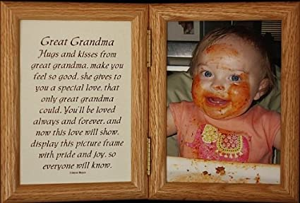 5x7 Hinged GREAT GRANDMA Poem Oak Picture Photo Frame A Wonderful Gift Idea For Great