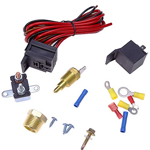 galleon - 175-185 degree electric cooling fan wire harness kit 185 on 170  off engine fan thermostat temperature switch 60 amp relay kit
