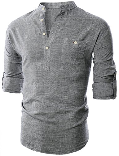 Ohoo Mens Slim Fit Ultra Light Cotton Linen Blend Long Sleeve Popover Work Shirt/DCC006-GREY-L