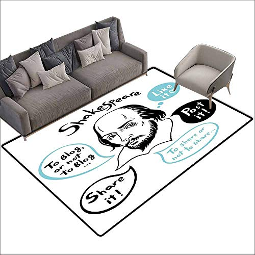 Inner Door Rug Funny Shakespeare Portrait with Speech Bubbles and Social Media Citation Illustration with Anti-Slip Support W5' x L6'10 Blue Black White ()