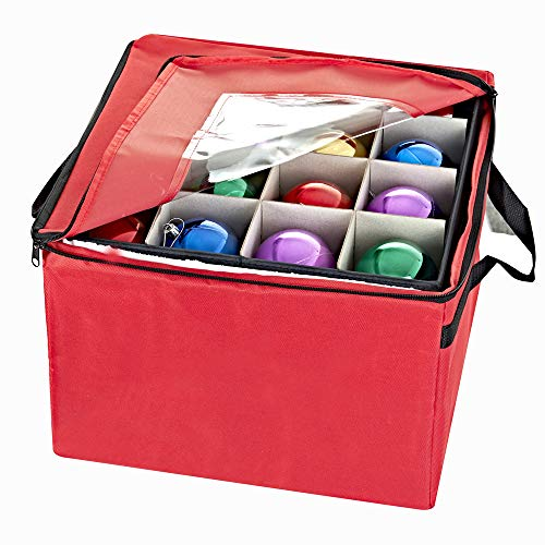 ProPik Holiday Ornament Storage Box Organizer Chest, with 3 Separate Removable Trays Holds Up to 48 Ornaments Balls, Three Separated Trays with Dividers to Organize Bulbs (Red) (Storage Tray Large)