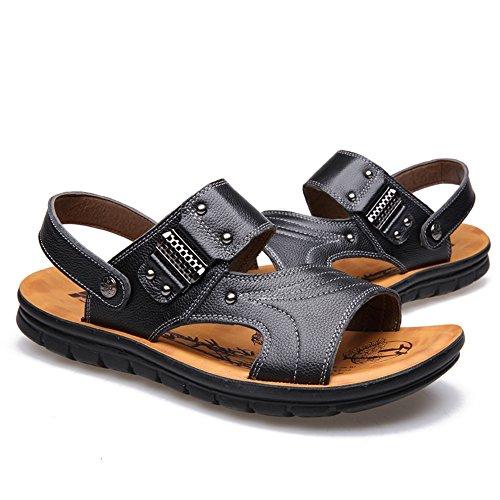 Black Toe Sandalias JOJONUNU Plano Hombres Peep X7qxfwzB