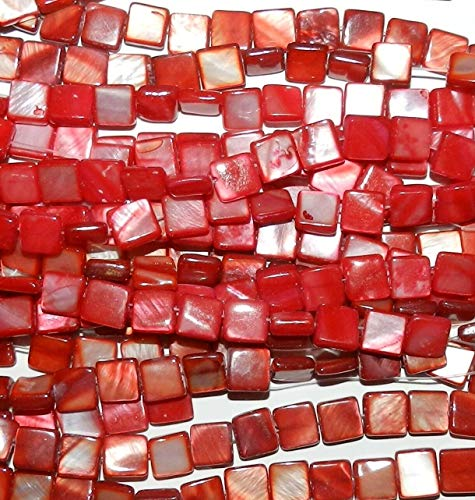 - Bead Jewelry Making Red 8mm Flat Square Mother of Pearl Gemstone Shell Beads 15