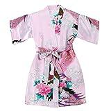 WonderFit Girls Stain Kimono Peacock Flower Robe for Spa Wedding Birthday Pink 11-12
