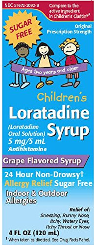 Loratadine Syrup (Children's Loratadine Sugar Free Grape Flavored Syrup, 4 oz. Per Bottle)