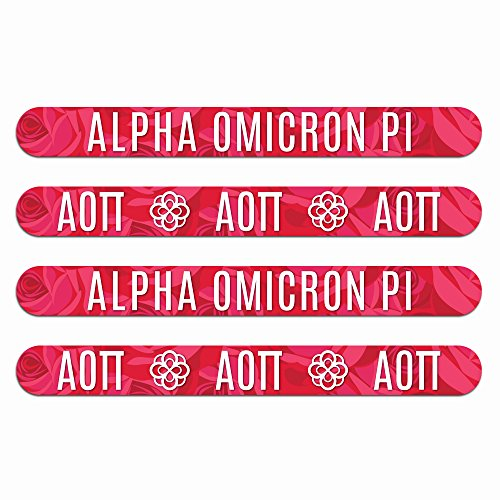 Alpha Omicron Pi Nail File (4pk)-Medium & Fine Grit. Durable design. Art stays true with use. Sorority gifts for Big Little Sister, Bid Day, gift baskets, stocking stuffers-by Worthy.