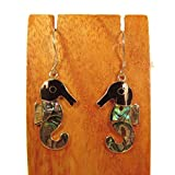 Sterling Silver Abalone Shell Seahorse Dangle Earring Bali Bay Trading Co