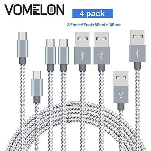 Micro USB Cable, [3FT+6FT+6FT+10FT] Nylon Braided Tangle-Free Micro USB Charging Cable Charge Cord for Android, Samsung, HTC, Nokia, Sony, Nexus, LG and More-[Grey + White]