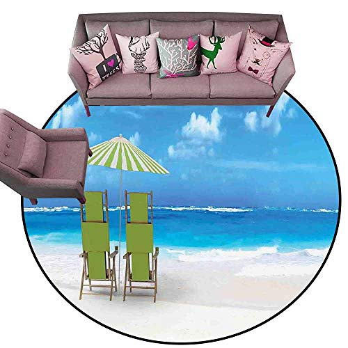 (Outdoor Kitchen Room Floor Mat Seaside,Sunshade Drinks Pair of Reclining Chairs Facing to Ocean Seascape,Blue Lime Green and White Diameter 54