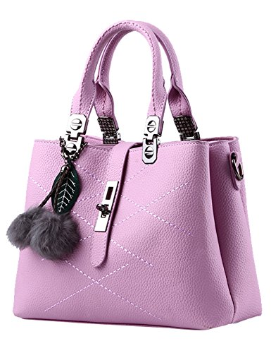 Marrone borsa PU lucida a Leather signore Tote Viola ReBuio nuove Bag tracolla Menschwear waFp1