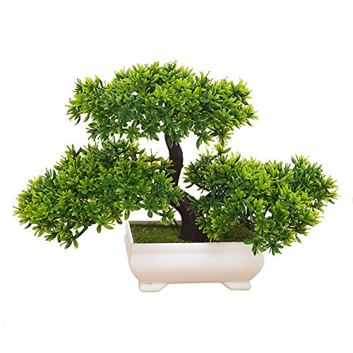 Frjjthchy Mini Artificial Bonsai Tree Plants with Plastic Cement Pots for Home Office Décor (Green)