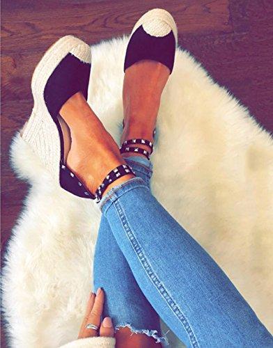 Alpargatas Minetom Cuña Mujer Sandalias Playa Verano Rivet Zapatos Negro Sandals Moda Planas Tacon Romanas Casual Bohemias qrwrt5E