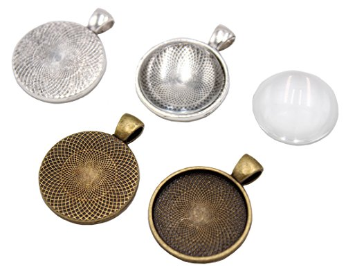Set of 80 - 40 Pieces Silver and Bronze Pendant Trays Round Bezel with with Glass Cabochon 25 mm Blanks Cameo Bezel Cabochon Settings, Totally 80 ()