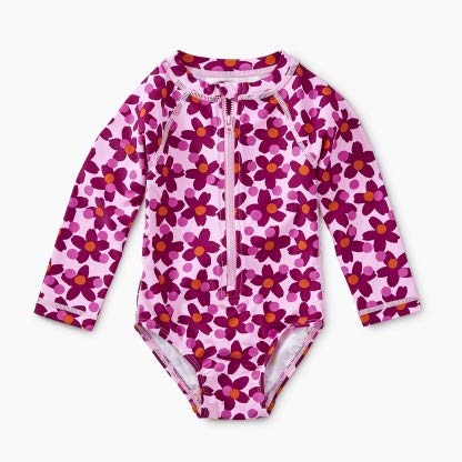 - Tea Collection Rash Guard Long Sleeve One Piece Swimwear, Girls 3T, Lanai Geo Floral