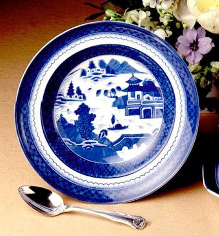 Heritage Rimmed Soup Bowl - Mottahedeh Blue Canton Rim Soup Plate 9.5 in