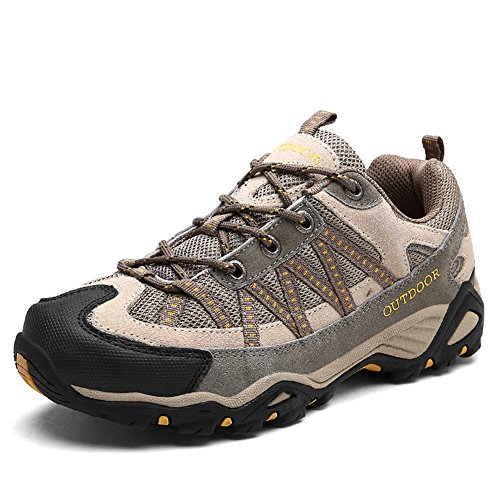 Hiking Shoes Antiskid Trekking Men Women Unisex Couple Outdoor Breathable Climbing Shoe,Khaki-43 by GOMNEAR