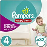 Pampers - Active Fit Pants - Couches-culottes Taille 4 (8-16 kg) - Pack Géant (x32 culottes)