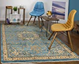 Antep Rugs Oriental Wave Collection Harem Polypropylene Area Rug (Blue/Ivory, 5' X 8')
