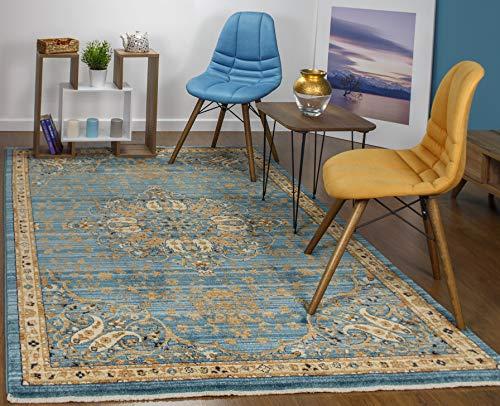 Antep Rugs Oriental Wave Collection Harem Polypropylene Area Rug (Blue/Ivory, 5' X 8')]()