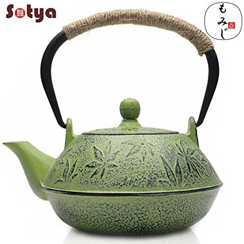 Cast Iron Teapot, Sotya Japanese Tetsubin Tea Kettle Durable Cast Iron with a Fully Enameled Interior