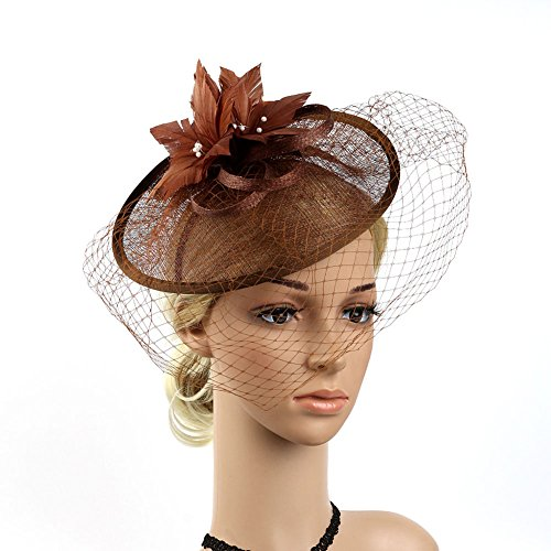 BAOBAO Wedding Cocktail Party Derby Hat Sinamay Feather Net Veils Hair Clip Headpiece