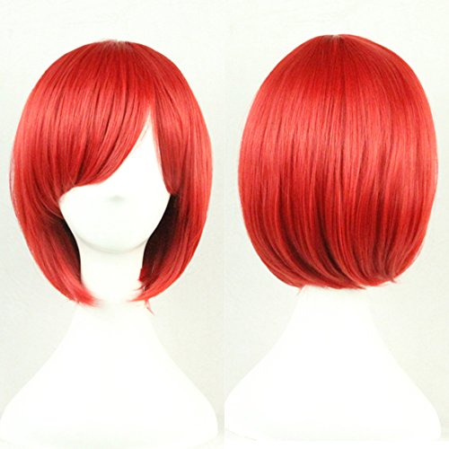 Red Short Wig (MOCOO Short Straight Hair Bob Wigs Fashion Ladies Cosplay /Party Costume Wigs(Red)JF003R)