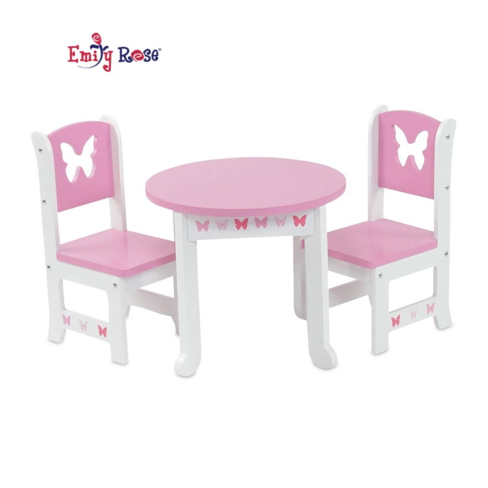 """Emily Rose 13 Inch Doll Furniture for American Girl Dolls  Doll  Accessories 13"""" Doll Table and 13 Chair Kitchen Dining Set  Fits Journey  Girls and"""