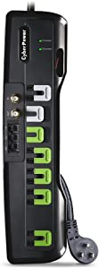 CyberPower CSHT706TCG Energy-Saving Home Office Surge Protector + TEL Protection, 2250J/125V, 7 Outlets, 6ft Power Cord