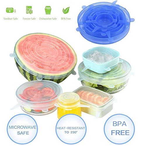 Food Grade Easy to Clean Reusable Silicone Stretch Lids (12, Transparent and Blue) by WDWYW (Image #1)'