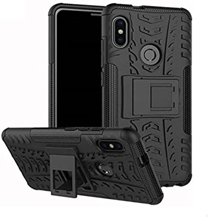 MOBIHUB Tough Black Armor Protector Case with Flip Stand for Xiaomi Mi A2 Cases & Covers at amazon