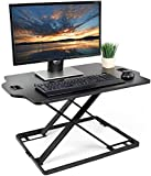 FUTRSEE Standing Desk Converter - Height Adjustable Sit Stand up Desk Riser Platform Station - Ultra Slim Desktop Standing up Workstation 32'' Black