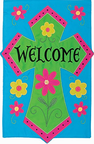 """"""" WELCOME CROSS"""" - Garden Size, 12 Inch X 18 Inch, Decorative Double Sided Applique Flag EMBROIDERED, License, Copyrights, Trademark by Custom Decor Inc."""