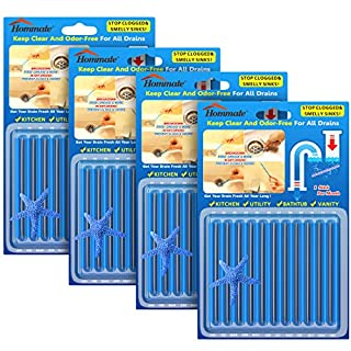 Drain Sticks Drain Stix Drain Cleaner and Deodorizer Sticks Drain Deodorizer Sticks for Clog Odor Unscented for Kitchen Bathroom Sinks Pipes Septic Tank Safe As Seen On TV (48pcs, Blue)