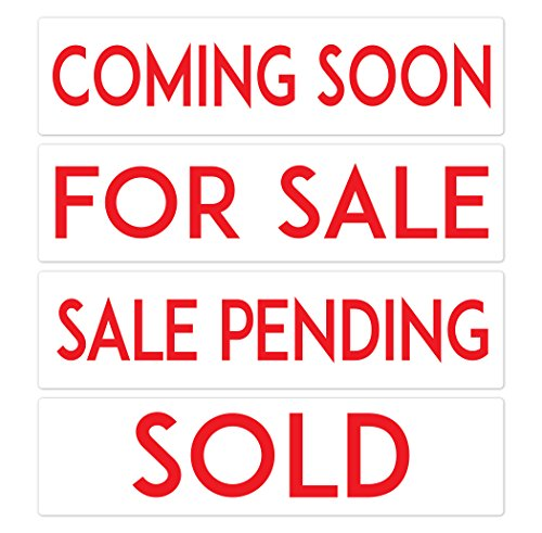 PRODUCT80 Metal Real Estate Sign Riders, Basic Set of 4, Coming Soon, for Sale, Sale Pending, Sold: Double Sided, Premium and Durable, 6
