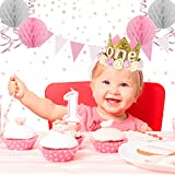 Xonara 1st Birthday Girl Decorations Princess Theme - 85 Piece First Birthday Decorations Girl Kit Pink/White/Rose Gold. ONE Cake Topper, First Birthday Highchair Banner, Crown, Balloons