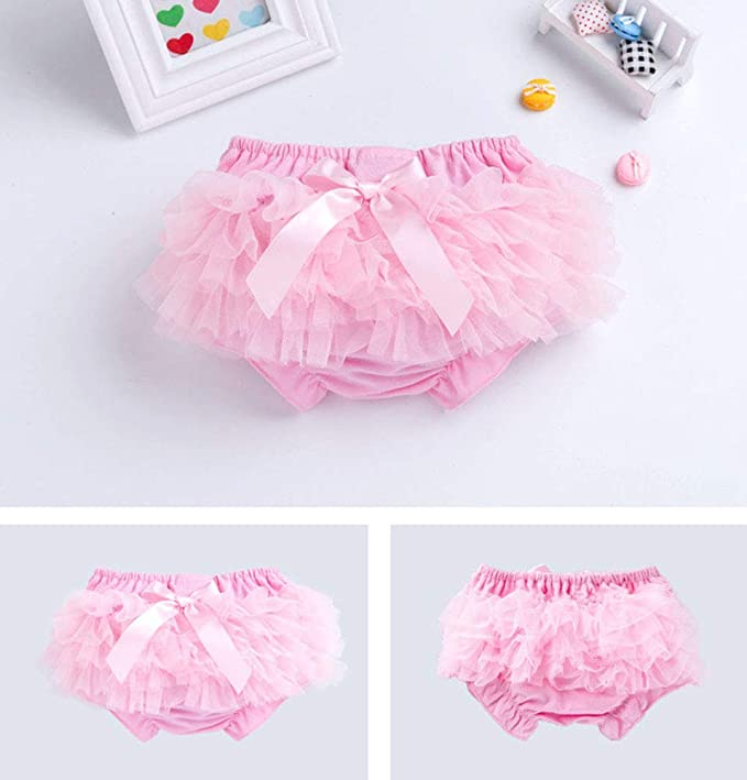 DQCUTE Infant Baby Girls Lace Bowknot Tutu Bloomers Diaper Cover Cotton Tulle Shorts and Headband Set