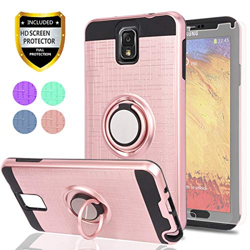 Note 3 Case,Galaxy Note 3 Case with HD Phone Screen Protector,Ymhxcy 360 Degree Rotating Ring & Bracket Dual Layer Resistant Back Cover for Galaxy Note 3,Note III,N9000,N9005-ZH Rose Gold