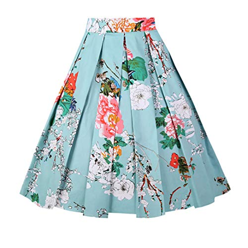 Girstunm Women's Pleated Vintage Skirt Floral Print A-line Midi Skirts with Pockets Mint-Flowers L ()