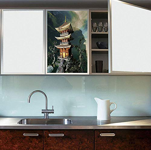 YOLIYANA Vinyl Non Adhesive Privacy Film,Ancient China Decorations,for Any Places: Kitchen, Bedroom,Old Zen Temple in Mountains Trees Eastern Religion,24''x36''
