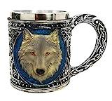 wolf coffee mug - Atlantic Collectibles Alpha Gray Wolf Celtic Tribal Magic Resin 16oz Mug With Stainless Steel Rim Figurine