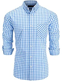Men's Regular Fit Long Sleeve Button-Down Plaid Dress Shirt