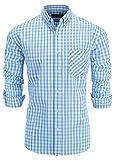 GoldCut Men's Slim Fit Long Sleeve Button-Down Plaid Dress Shirt Small Light Blue