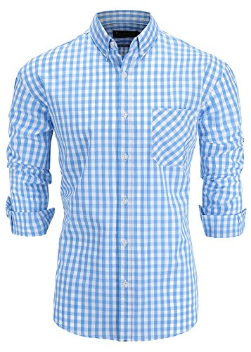 - GoldCut Men's Slim Fit Long Sleeve Button-Down Plaid Dress Shirt Medium Light Blue