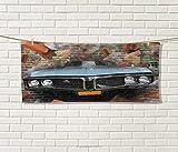 Anniutwo Cars,Travel Towel,Graffiti Featured Graphic Crashing Automobile on A Brick Wall Underground Street Style,100% Microfiber,Multi Size: W 12'' x L 27.5''